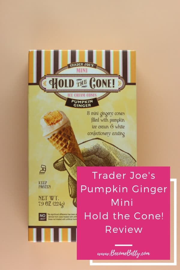 Trader Joe's Mini Hold the Cone Pumpkin Ginger Ice Cream Cones image for Pinterest