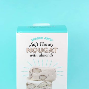An unopened package of Trader Joe's Soft Honey Nougat with Almonds