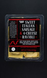 An unopened package of Trader Joe's Sweet Italian Sausage and Four Cheese Ravioli
