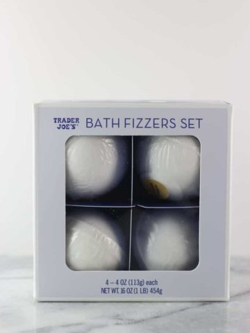 An unopened package of Trader Joe's Bath Fizzers Set