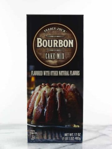 An unopened box of Trader Joe's Bourbon Cake Mix