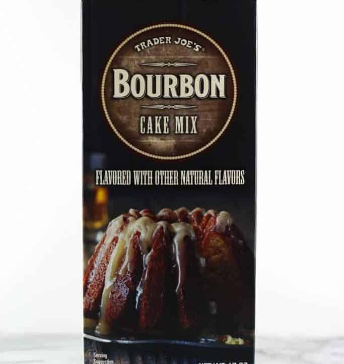 An unopened box of Trader Joe's Bourbon Cake Mix