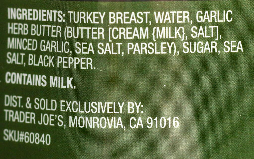 Ingredient list for Trader Joe's Brined Bone In Half Turkey Breast