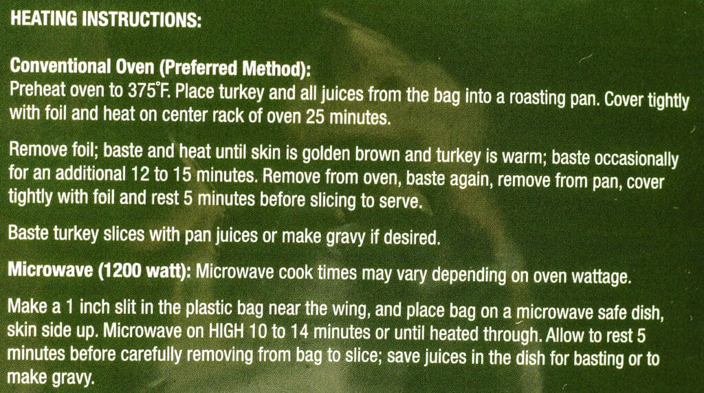 Heating directions for Trader Joe's Brined Bone In Half Turkey Breast