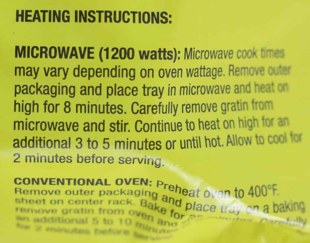 Heating directions for Trader Joe's Broccoli and Cauliflower Gratin
