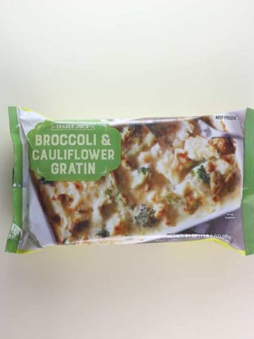 A unopened package of Trader Joe's Broccoli and Cauliflower Gratin