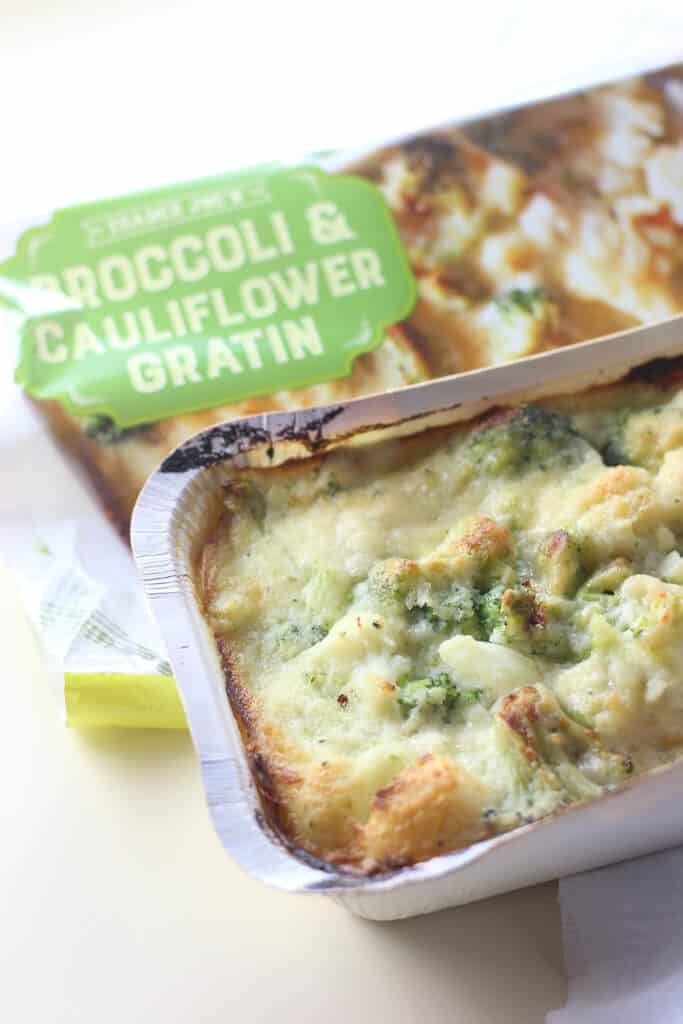 A fully cooked Trader Joe's Broccoli and Cauliflower Gratin