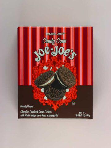 An unopened box of Trader Joe's Candy Cane Joe Joe's