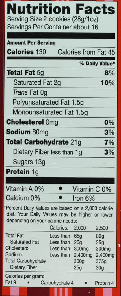 Nutritional information and calories in Trader Joe's Candy Cane Joe Joe's