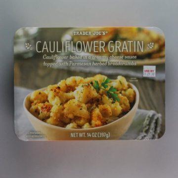 An unopened box of Trader Joe's Cauliflower Gratin