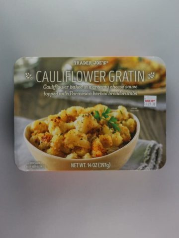 An unopened box of Trader Joe's Cauliflower Gratin