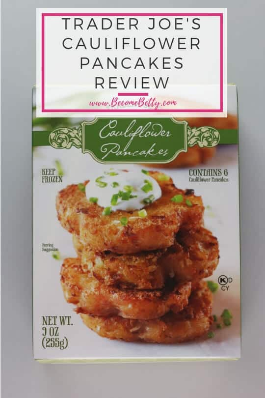 Pinterest image for Trader Joe's Cauliflower Pancakes