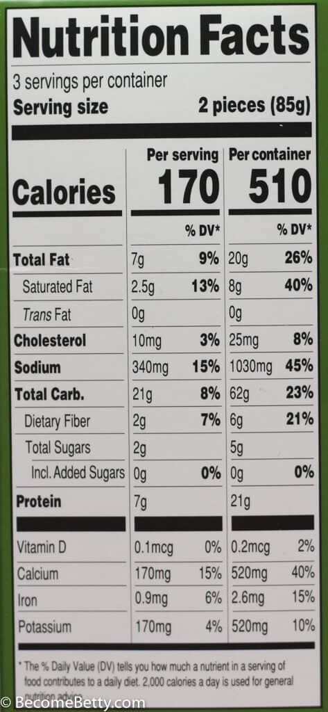 Calories and nutritional facts on Trader Joe's Cauliflower Pancakes