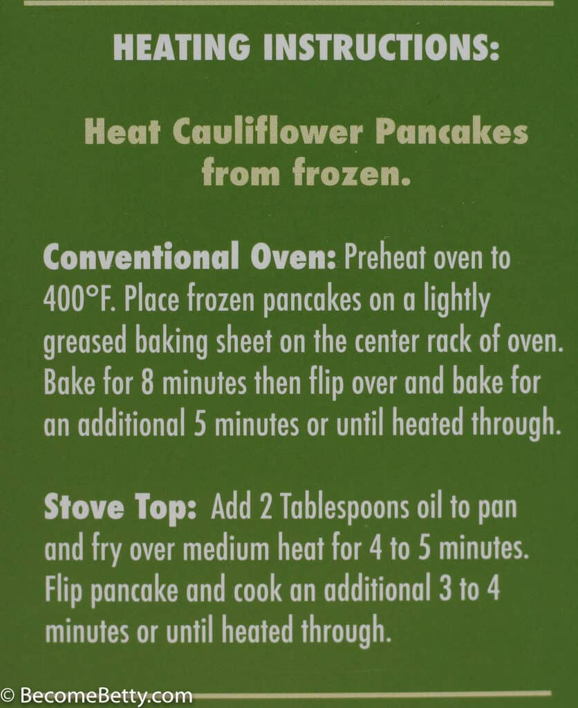 Cooking directions for Trader Joe's Cauliflower Pancakes