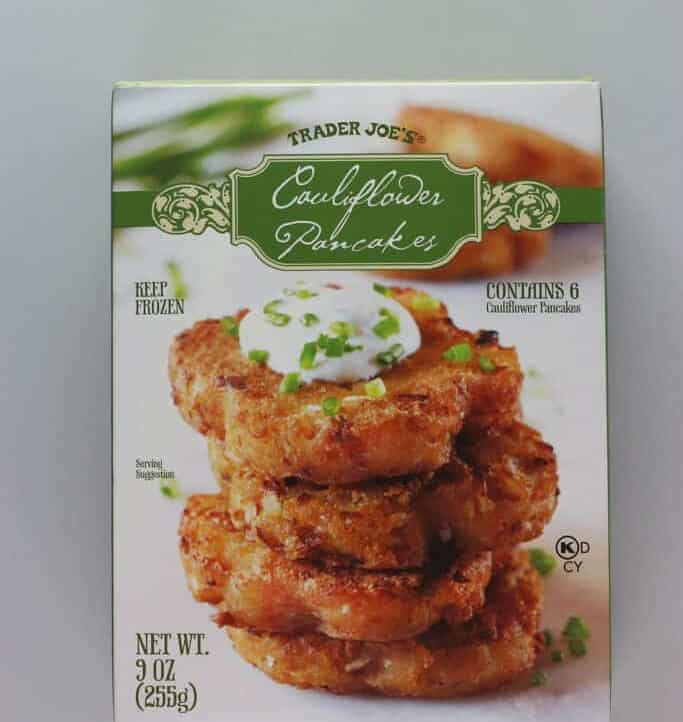 An unopened box of Trader Joe's Cauliflower Pancakes