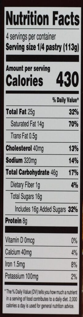 Calories and nutritional information for Trader Joe's Chocolat En Croute on the side of the box