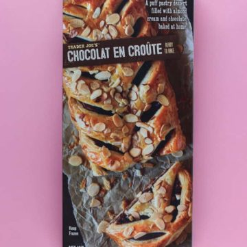 An unopened box of Trader Joe's Chocolat En Croute