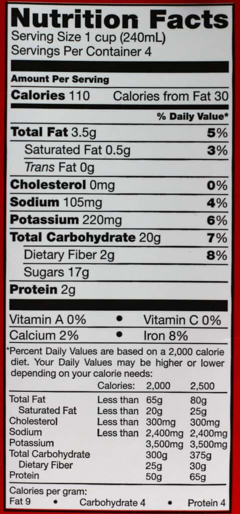 Calories and nutritional information in Trader Joe's Chocolate Peppermint Almond Beverage