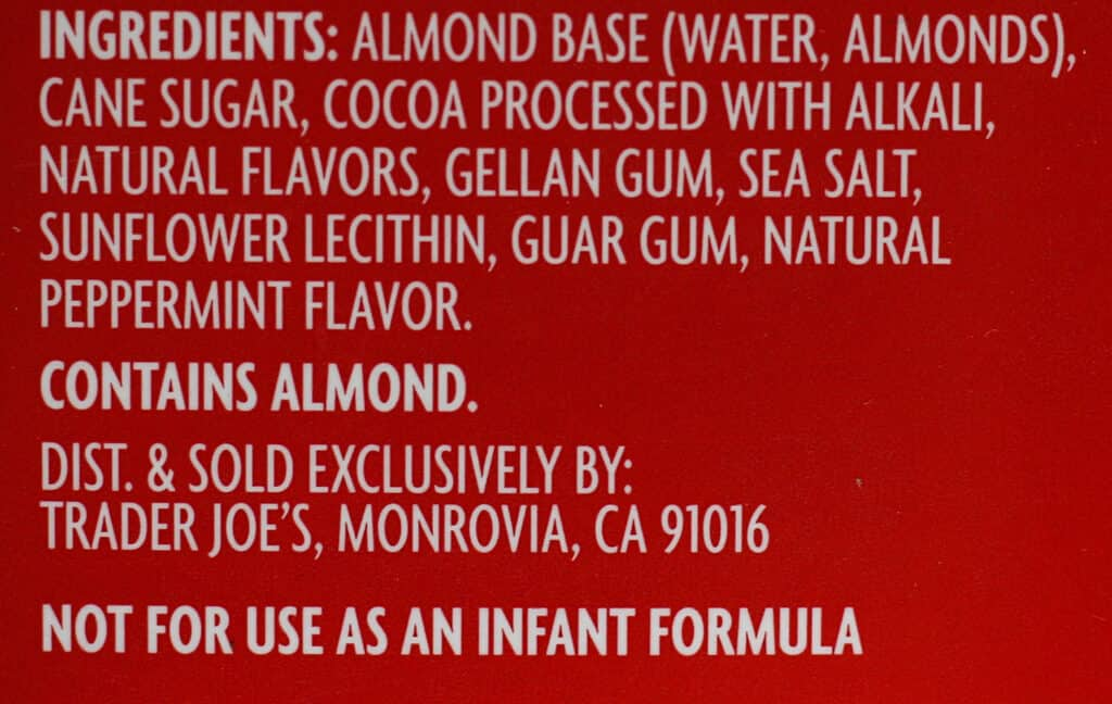 Ingredient list for Trader Joe's Chocolate Peppermint Almond Beverage