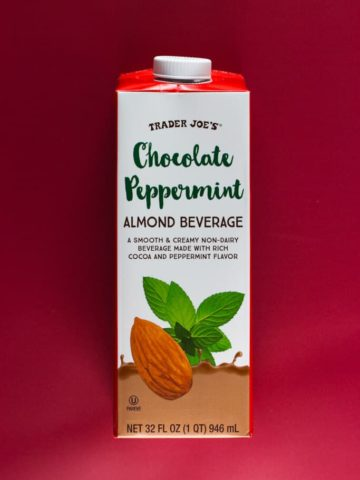 An unopened box of Trader Joe's Chocolate Peppermint Almond Beverage