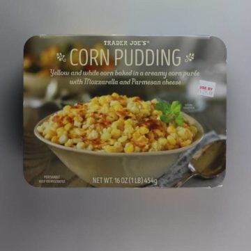 An unopened package of Trader Joe's Corn Pudding