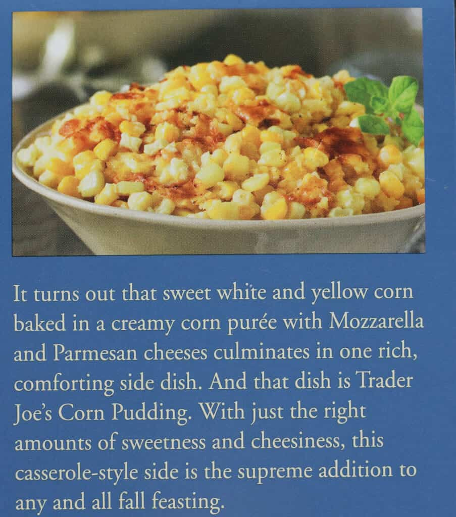 Description on the box of Trader Joe's Corn Pudding