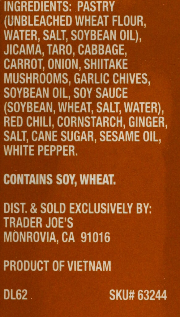 Trader Joe's Crispy Vegetable Pouches ingredient list