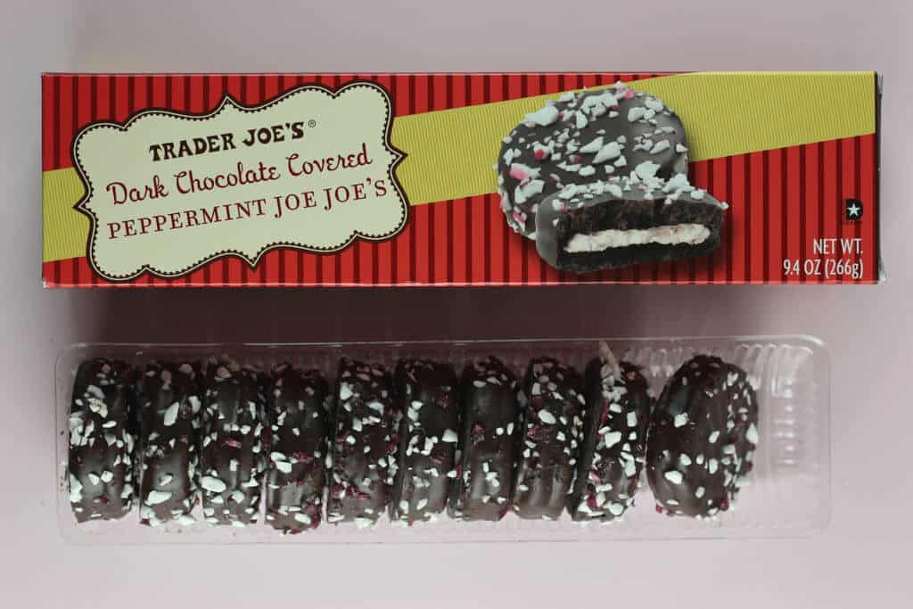 Trader Joe's Dark Chocolate Covered Peppermint Joe Joes out of the box and next to the original packaging
