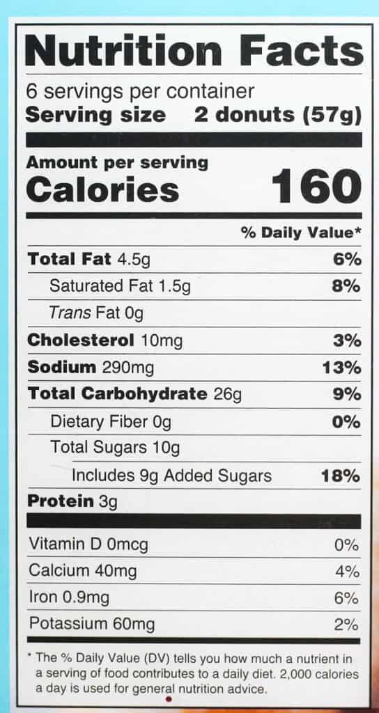 Calorie and nutritional information on Trader Joe's Donut Bites