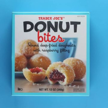 An unopened box of Trader Joe's Donut Bites