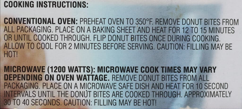 How to prepare Trader Joe's Donut Bites with conventional oven directions and microwave instructions