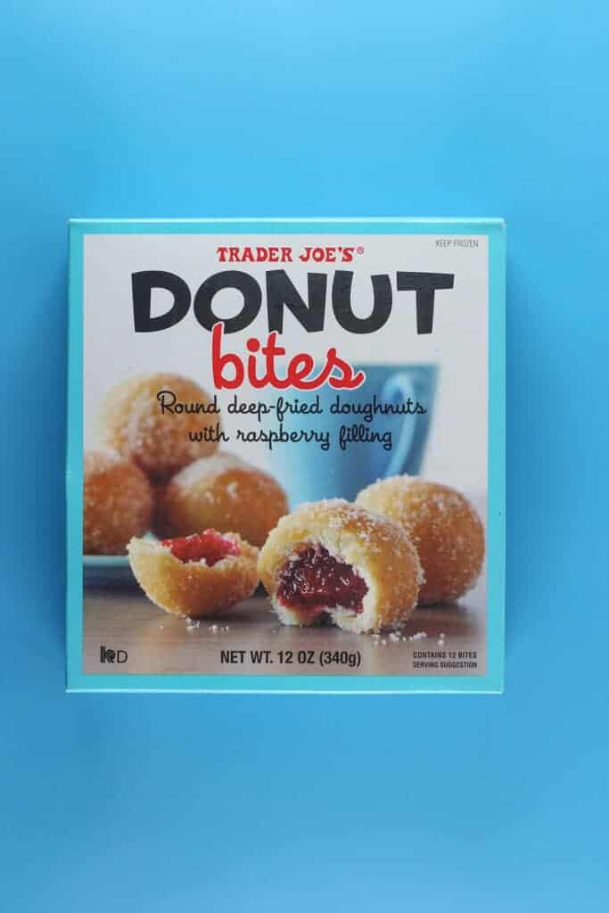 An unopened box of Trader Joe's Donut Bites