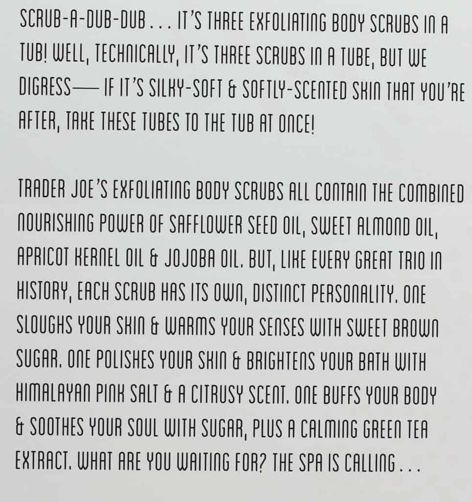 Product description on the back of the box of Trader Joe's Exfoliating Body Scrub Trio