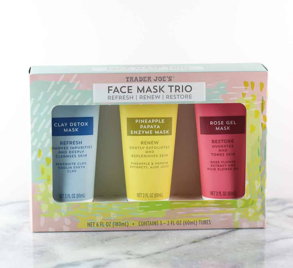 An unopened box of Trader Joe's Face Mask Trio