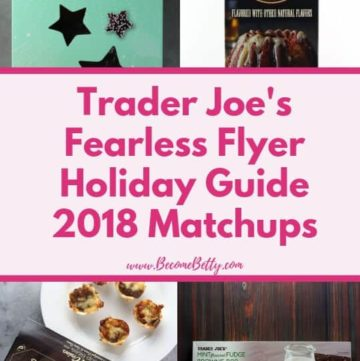 Trader Joe's Holiday Guide 2018 Fearless Flyer Matchups Pin for Pinterest