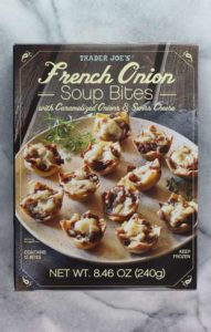An unopened box of Trader Joe's French Onion Soup Bites