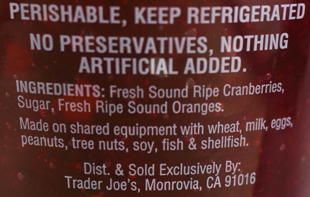 Ingredients in Trader Joe's Fresh Cranberry Orange Relish