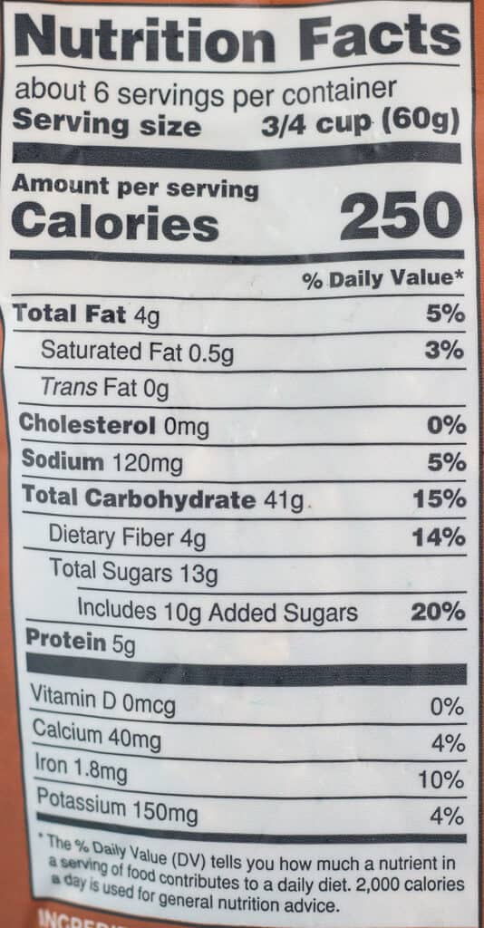 Nutritional and calories information for Trader Joe's Ginger Bread Spice Granola