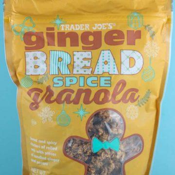 An unopened bag of Trader Joe's Ginger Bread Spice Granola