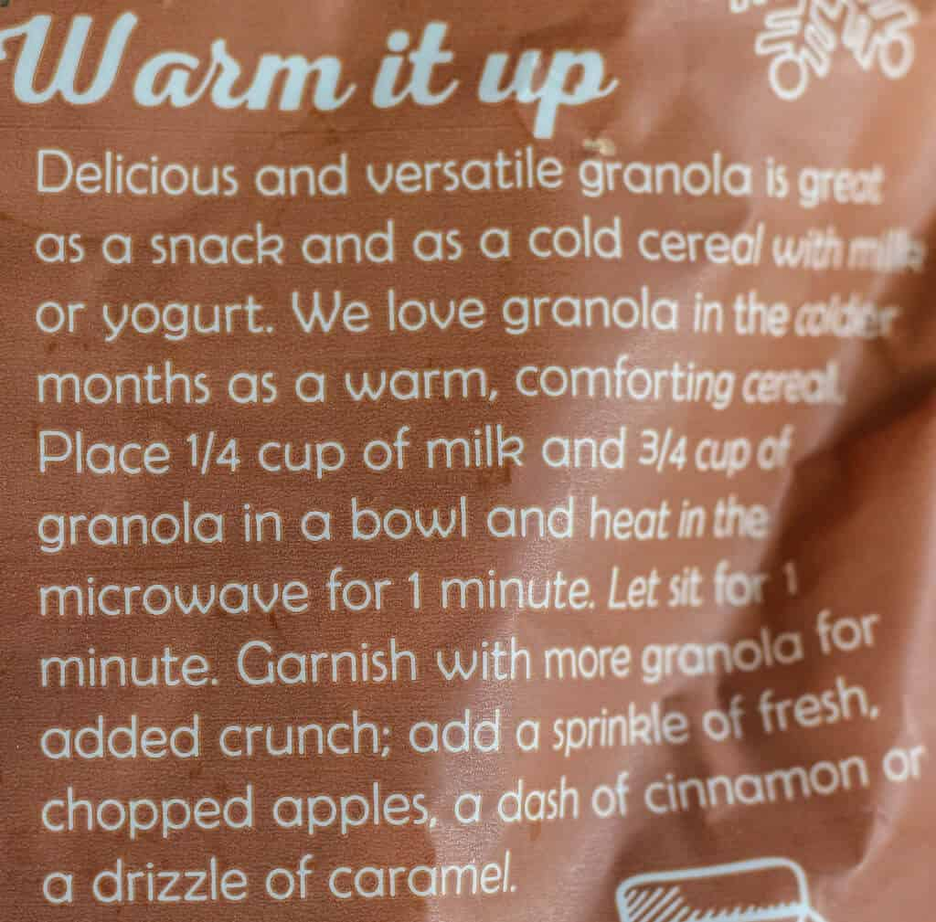 Warming suggestions on the back of the bag of Trader Joe's Ginger Bread Spice Granola