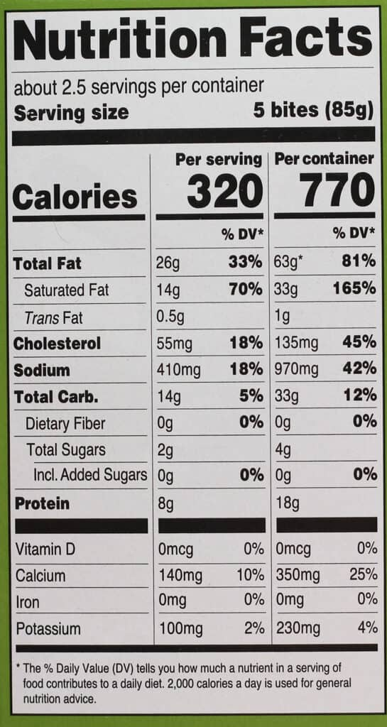 Nutritional information and calories in Trader Joe's Herbaceous Cheesy Bites