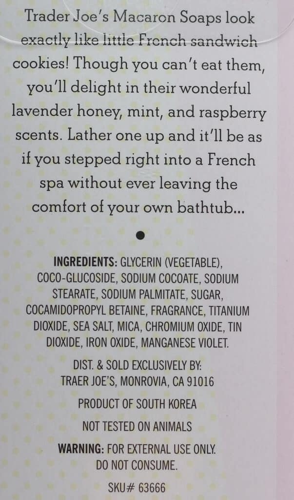 About Trader Joe's Macaron Soap and the ingredients