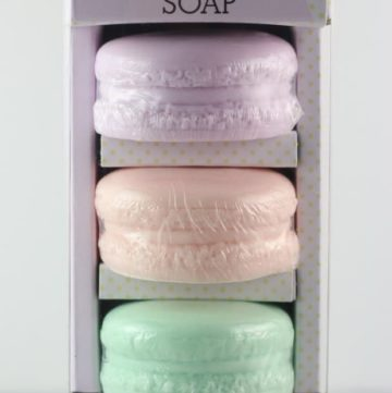 An unopened package of Trader Joe's Macaron Soap set