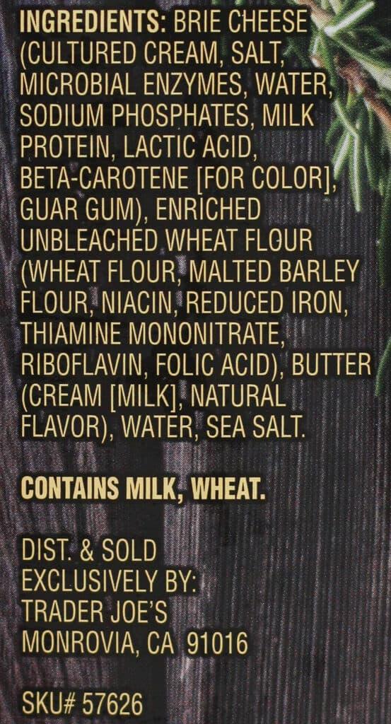 Ingredients in Trader Joe's Mini Brie en Croute