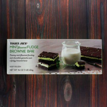 An unopened box of Trader Joe's Mint Flavored Fudge Brownie Bar