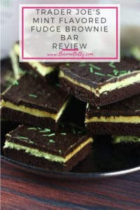 Pinterest image for Trader Joe's Mint Flavored Fudge Brownie Bar review