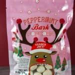 An unopened bag of Trader Joe's Peppermint Bark Popcorn