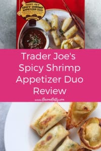 Trader Joe's Spicy Shrimp Appetizer Duo review Pin for Pinterest