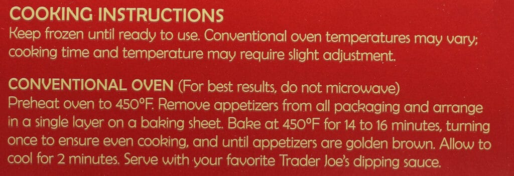 Cooking directions for Trader Joe's Spicy Shrimp Appetizer Duo