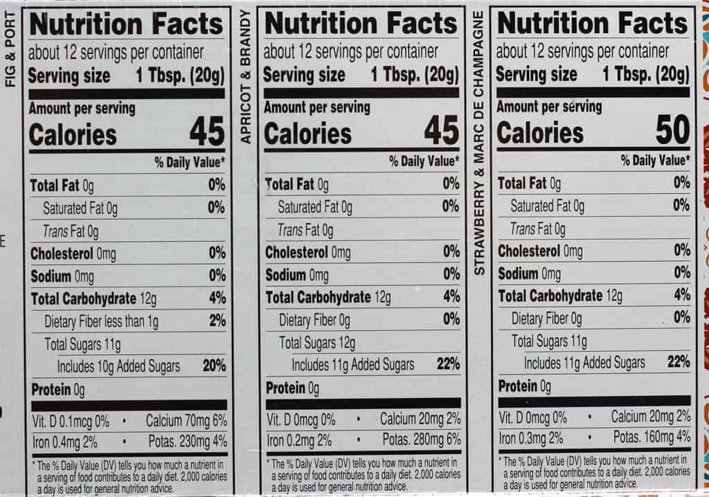 Calories and nutritional facts in Trader Joe's Spirited Fruit Spread